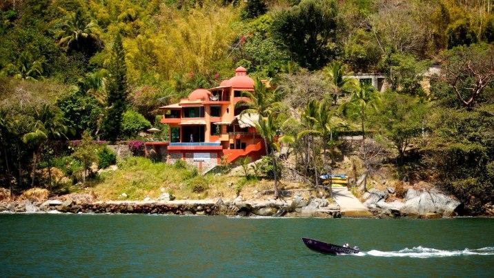 Beautiful homes line the bay.