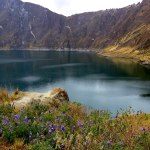 Laguna Quilotoa sits about 500 meters below the volcano rim.