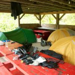 We camp in a pavilion because it rains buckets for hours in Stewart, B.C.