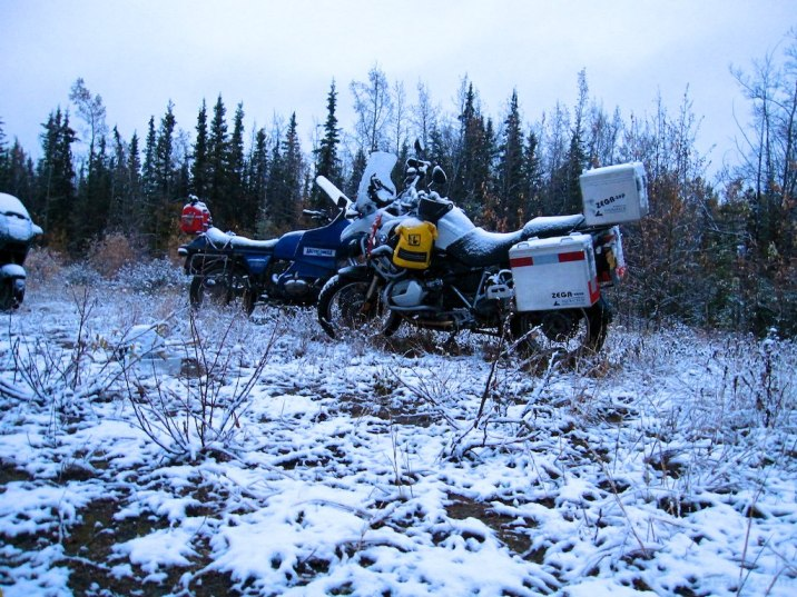 Rain at the Teslin camp turns to snow overnight.