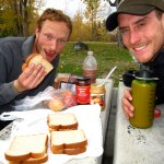 Peanut butter and raspberry jam sandwiches for lunch in Golden, British Columbia.