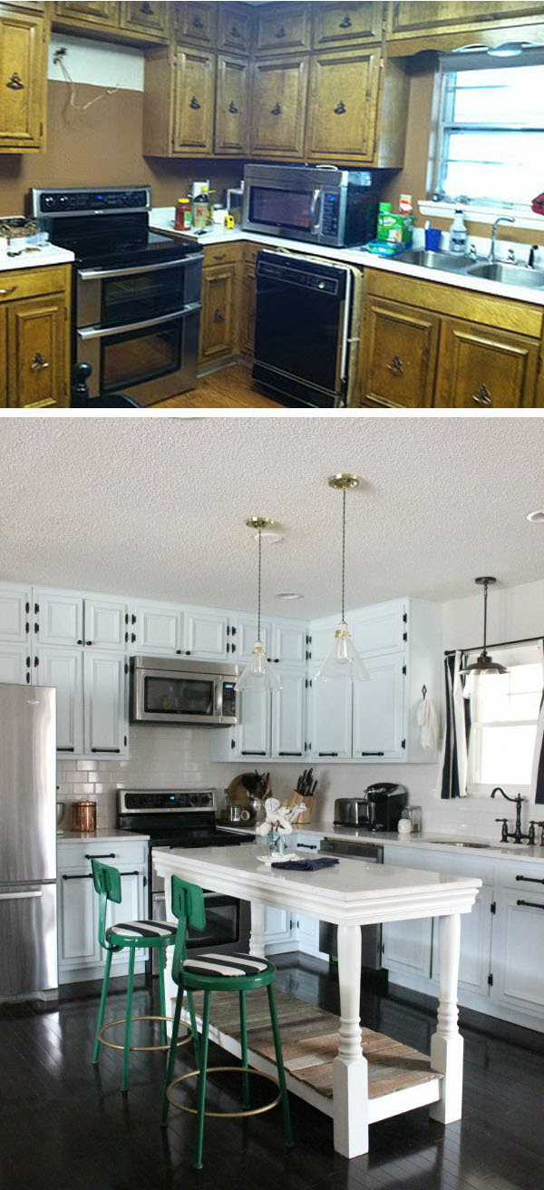 How To Change Kitchen Cabinet Color Before And After: 25+ Budget Friendly Kitchen Makeover