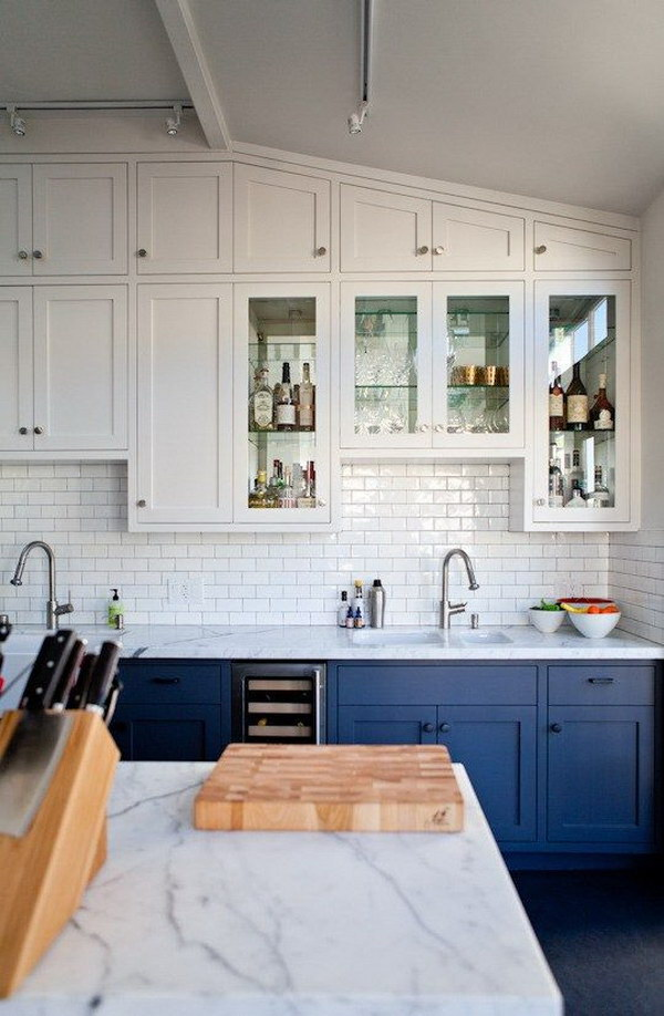 White Kitchen With Gray Island Stylish Two Tone Kitchen Cabinets For Your Inspiration