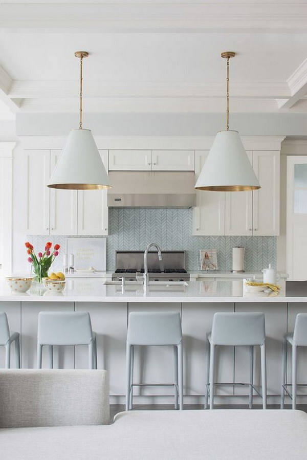 light blue chevron tile backsplash modern costal kitchen kitchens brick backsplash brick wallpaper kitchen kitchen ideas