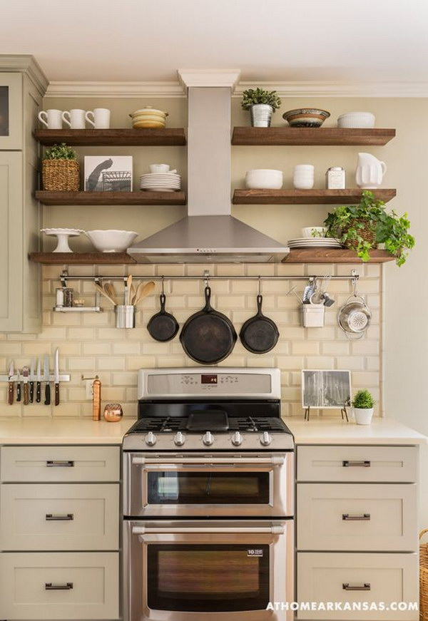 open shelving range hood white subway tile backsplash kitchen backsplash design gallery feel home