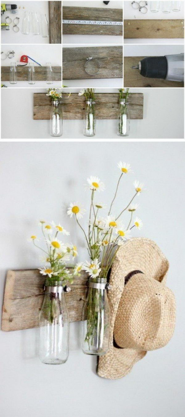 Milk Bottles For Decoration 40 Rustic Wall Decorations For Adding Warmth To Your Home Hative