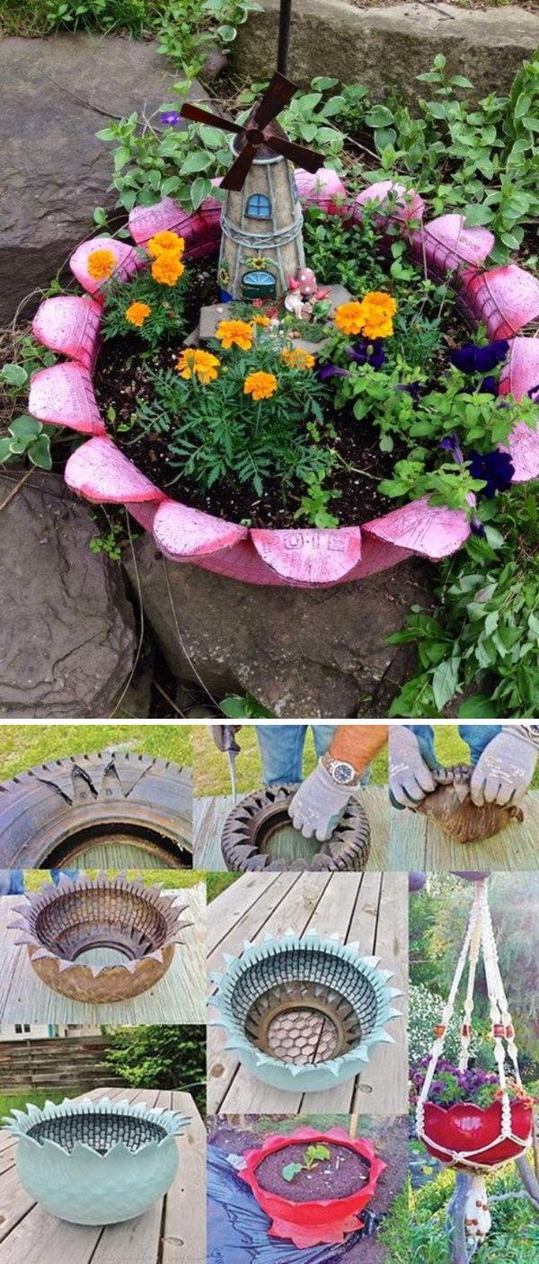 Artistic Upcycled Tire Fairy Garden Diy Fairy Garden Ideas Hative Inexpensive Garden Fairies garden Cheap Garden Fairies