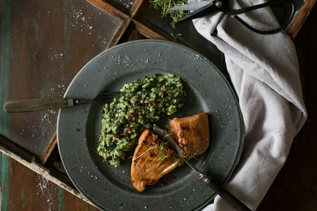 Risotto mit Spinat und Lachs