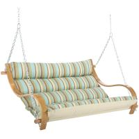 Spring Bay Stripe Deluxe Cushioned Double Porch Swing