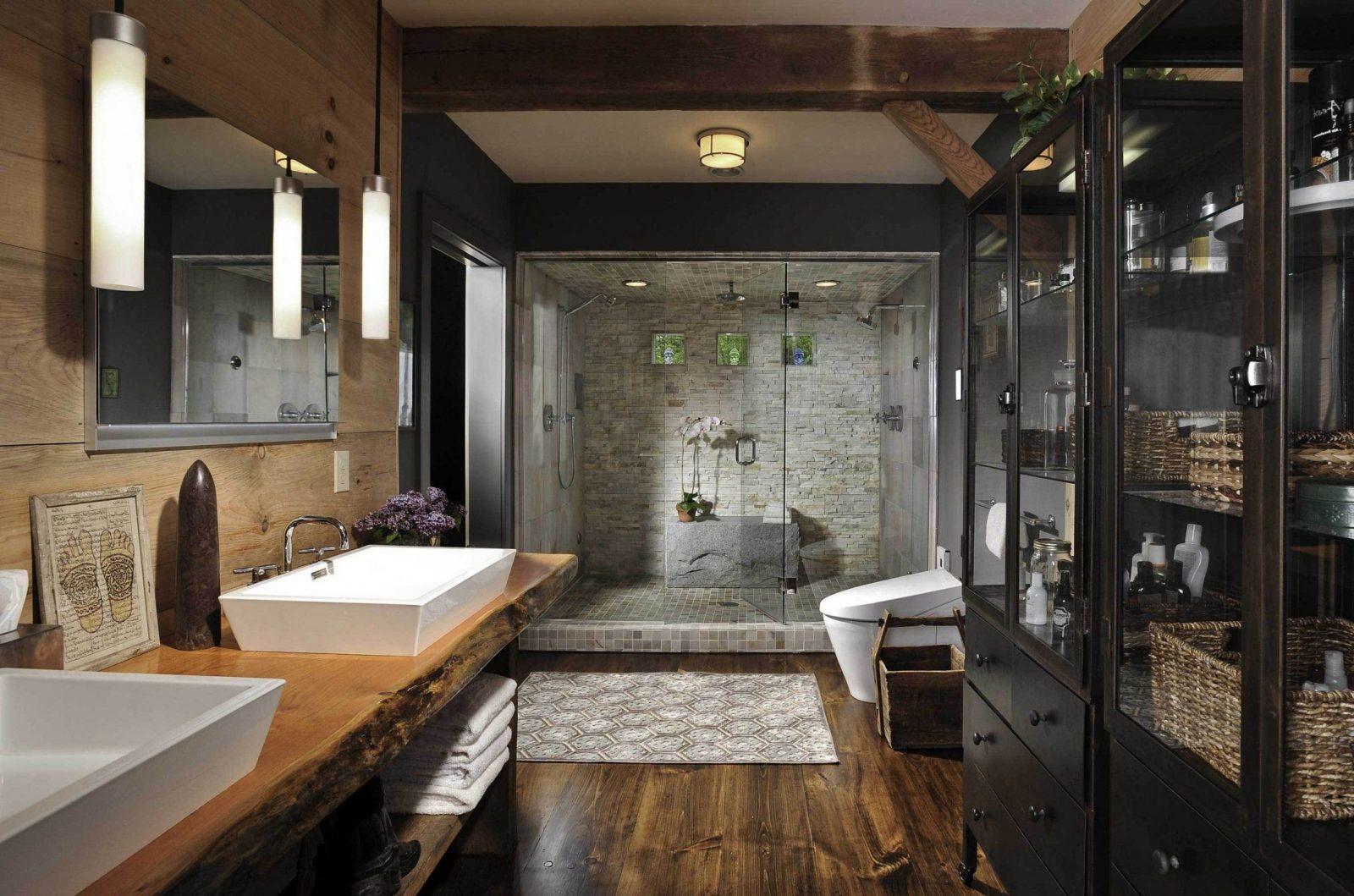 Badezimmer Schiefer Holz