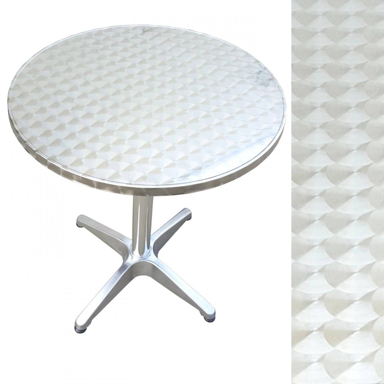 Gartentisch Rund Kunststoff Weiss Alu Durch Holzplatte Klappbar
