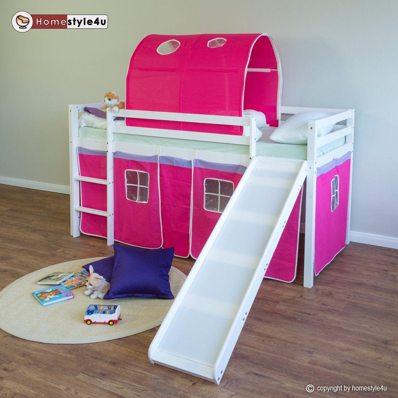 Tunnel Hochbett Kinderbett Hochbett Bett Tunnel Vorhang Lila Pink