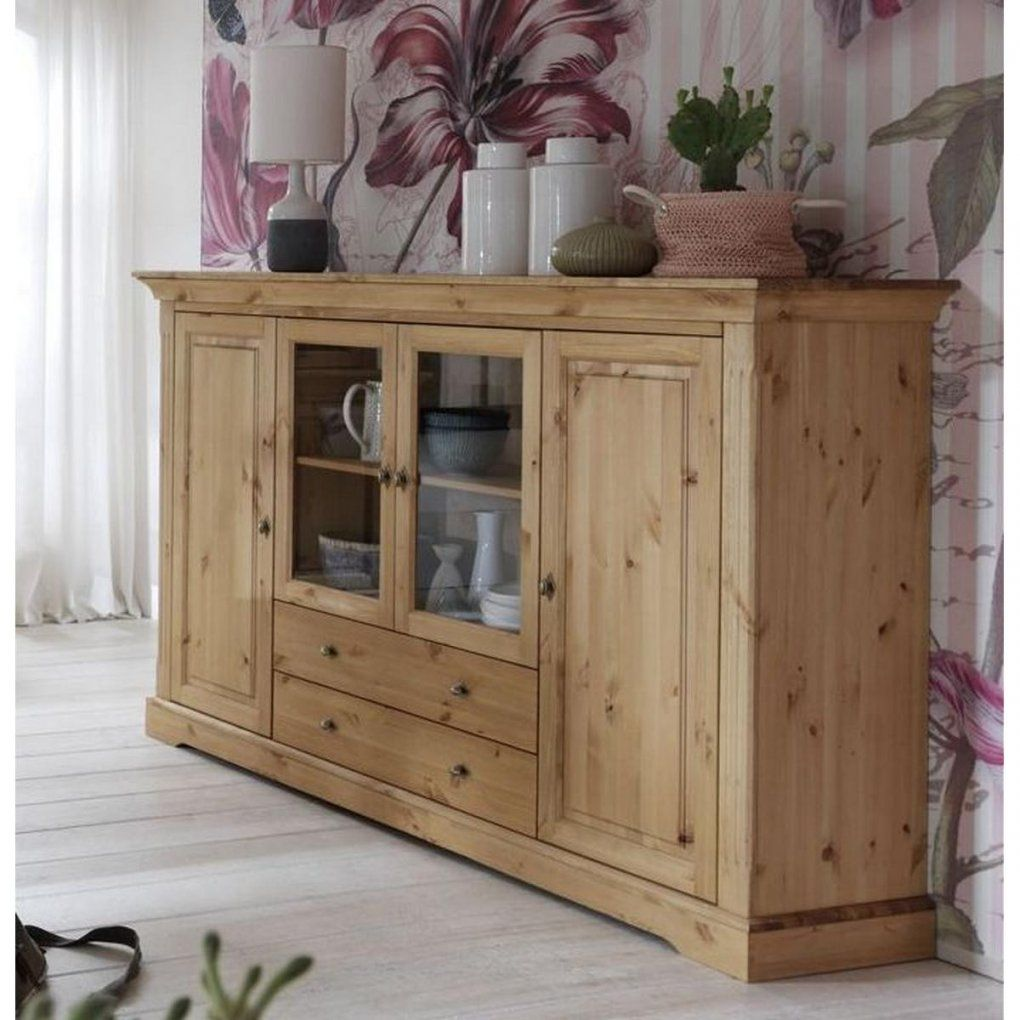 Küche Kiefer Massiv Geölt Vitrinenschrank Highboard Landhausstil Kiefer Massiv Kucheonline