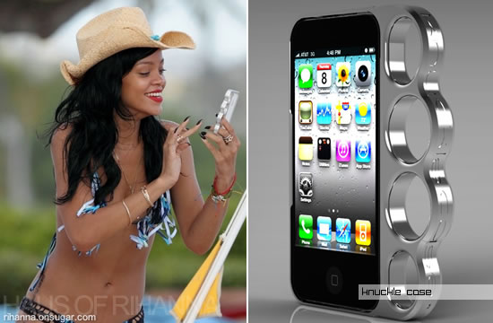 Rihanna with Nukle's iphone case in Hawaii
