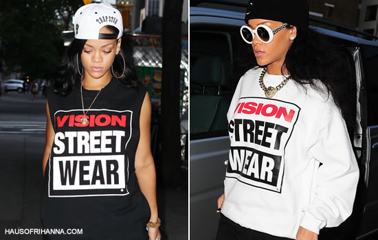 Rihanna wearing Vision Street Wear shirts