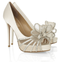 Shoe Envy: Valentino - Bow-embellished Satin Sandals {The Perfect Bridal Heels}