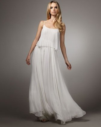Halston Herritage Pleated Chiffon Gown