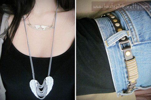 Forever 21 Necklaces, Mags & Pye Fringe Hoodie, Vintage Levi Cutoffs, Claire's Belt, Nila Anthony Brown Hobo Bag