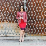 Cranberry Blazer + Express Color Block Skirt + Sam Edelman Lorissa + Rayban New Wayfarers