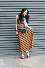 Forever 21 Camel Black Striped Maxi Dress, Spiked Ring and Distressed Denim Crop Vest | Alex &amp; Chloe for Forever 21 Rhinestone Geo Necklace | SoleSociety Val Colorblock Platform Sandal in Black Mohogany Neon Orange | California Raw Steel by Roger Hayes Leather Cuff | DIY Studded Leather Fanny Pack | Black Rosary Bracelet | Silver Spiked Bracelet
