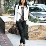 Jessica Simpson Dany in Coffee Summer Haze + Bebe White Asymmetrical Jacket