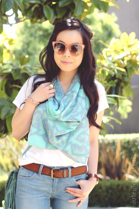 www.HautePinkPretty.com - An Dyer wearing Celine Paris CL 41755 Audrey Sunglasses in Blush, Nordstrom BP Scoop Neck Tee, Suboo Resort Scarf, TopShop MOTO Organic Blue Baxter Jeans, Noer Mint Green Fringe Bag c/o Karmaloop PLNDR, Glint & Gleam Pink Leather Spike Wrap Bracelet c/o ShopLately, Michael Kors Parker Leather Chronograph Watch, Forever 21 Gold Rhinestone Dome Ring and Brown Suedette Belt