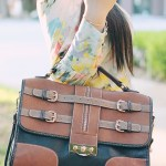 www.HautePinkPretty.com - An Dyer wearing Ainsley Equestrian Horse Watercolor Printed Blouse, Zara Linen Denim Shorts, Melie Bianco Darlene Bag in Black, Prada Baroque Round Sunglasses, Michael Kors Parker Leather Chronograph Watch, Glint &amp; Gleam Love Rose Gold Bracelet, Sole Society Alexis Peeptoe Heels