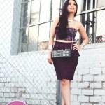 TopShop Oxblood Peplum Skirt + Oasap Studded Clutch + Sam Edelman Lorissa