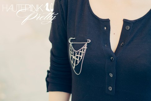 www.HautePinkPretty.com - An Dyer wearing LAMade Henley Tunic, Glint & Gleam Dangling Cross Pin - Antique Silver