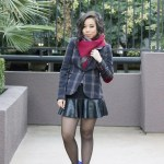Qi Cashmere Scarf + Zara Mini Skirt with Leather Frill + Sole Society Aster Boots