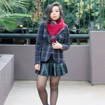 www.HautePinkPretty.com - An Dyer wearing Qi New York Cashmere Scarf, Zara Checked Blazer with Elbow Patches and Mini Skirt with Leather Frill, Sole Society Aster Boots in Charcoal Blue, Glint &amp; Gleam Call Me Classic Chain Bracelet, Swerve Cuff, Luxe Bolt Bangle, Finishing Touch Cuff and Modern Tribal Ring