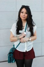 1-an-dyer-in-topshop-chiffon-side-tucked-blouse-forever-21-burgundy-lace-shorts-and-gold-cuff-zara-teal-city-bag-with-fastener-solesociety-abby-boots-fendi-classico-sunglasses-decree-rin