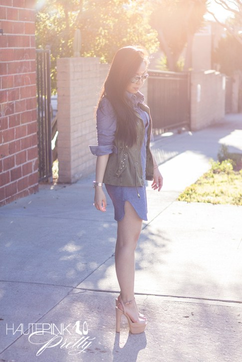 www.HautePinkPretty.com - An Dyer wearing Amour Vert Alexa Chambray Tunic, ShoeMint Bianca nude Platform Sandals, Cuore and Pelle Tonia Bag, Mirrored Aviators, Zara Camo Green Studded Vest, Michael Kors Mother of Pearl Chronograph Watch, Glint &amp; Gleam Elephant Ring ShopLately, Hauskrft You Had Me At Hello Leather Bracelet
