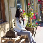www.HautePinkPretty.com - An Dyer wearing ShoeMint Garbo in White Leather courtesy of ShoeMint, Leslie Bubbles Top courtesy of Amour Vert, Bebe White Leather Jacket, Nordstrom The Rail Mirrored Aviators, Glint &amp; Gleam Modern Texture Cutout Cable Bracelet, Simply Textured Cable Bracelet, &amp; Triple Bar Double Finger Ring Set courtesy of ShopLately, Louis Vuitton Damier Ribera Mm, Marc Jacob Pad Lock Necklace, Foreign Exchange Light Grey Jean Jeggings