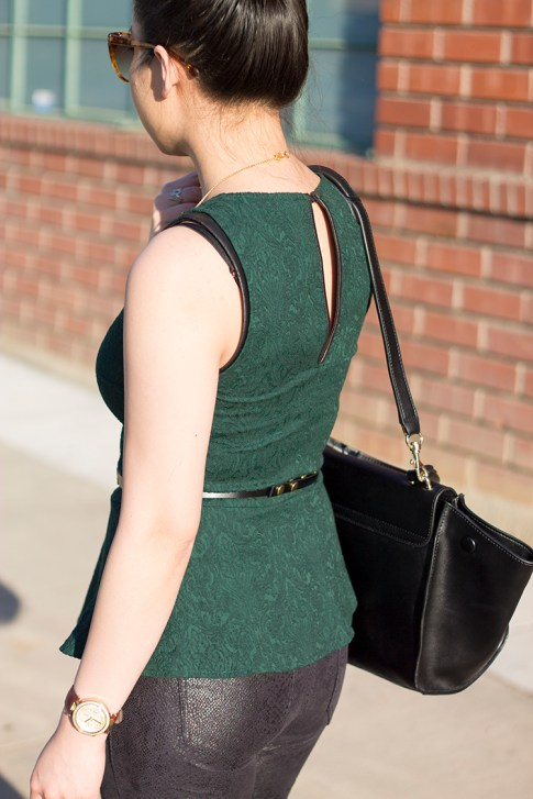 An Dyer wearing Zara Emerald Brocade Peplum Top, Snake Print Suede Pants, Cuore &amp; Pelle Caterina Bag