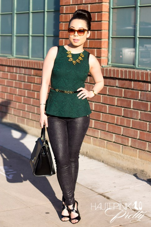 An Dyer wearing Zara Emerald Brocade Peplum Top, Snake Print Suede Pants, Vivienne Kelly Khloe Necklace, Elizabeth &amp; James Lafayette Sunglasses, Asos Oui Non Skinny Waist Belt, Sole Society Dawn Sandals
