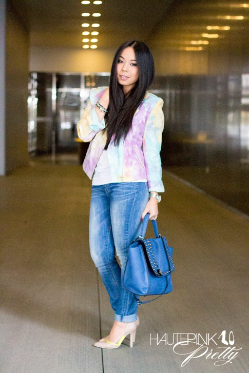 An Dyer wearing This Is A Love Song's No Doubt Tie Dye Moto Jacket, Ditto Jeans, Melie Bianco Villette, Sole Society Francesca Pumps, Haute Betts Sanctuary Bracelets, Michael Kors Watch