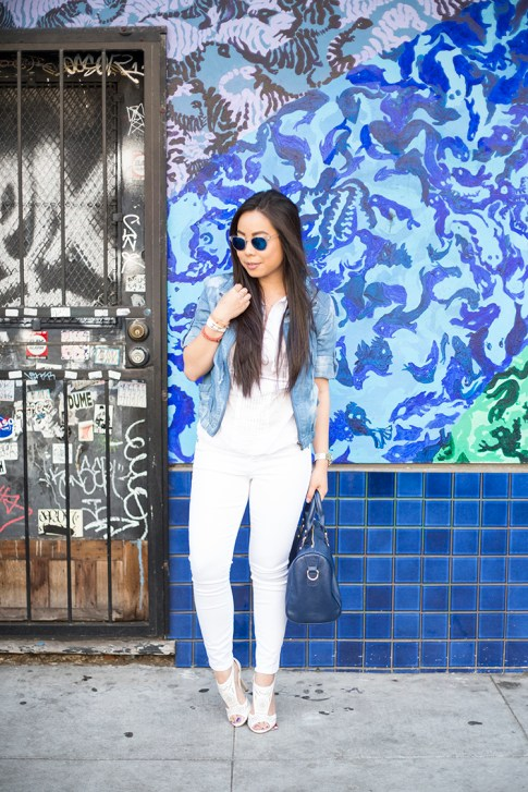 An Dyer wearing True Religion Brooklyn Flap Pocket White Skinny Jeans, ShoeDazzle McKinley, StyleMint Manor Tie Dye Denim Jacket, SoleSociety Kaylin Navy Bag, Michael Stars  Blouson Hem Peasant, San Francisco