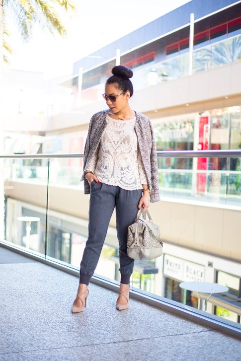 An Dyer wearing Sole Society Karenza Pumps in Nude Suede, LOFT Peplum Tweed Jacket, Express Crochet Lace Top, Michael Stars Tencel Banded Bottom Pant