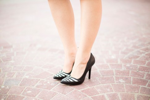 JustFab Cera Black & White Pumps