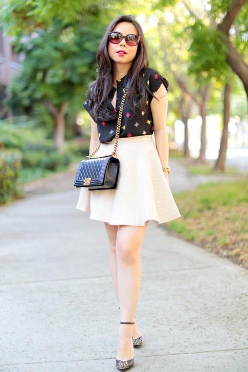 Wearing Chanel 14A Pearly Black Lamb Boy Bag GHW Old Medium