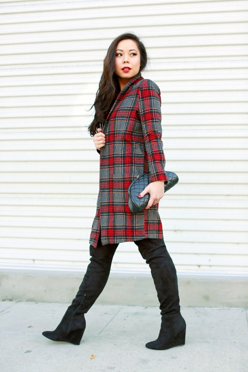 Red Plaid Coat OTK Boots Leopard Dress