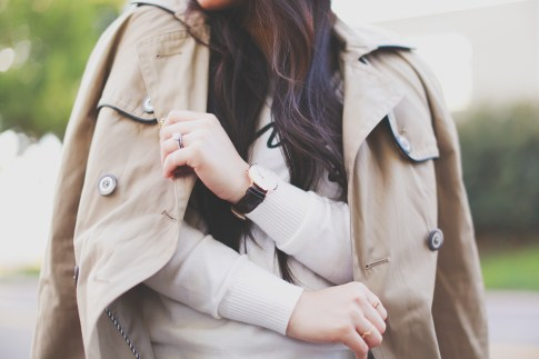 An Dyer wearing Daniel Wellington Classic Sheffield Lady Watch with Express Trench