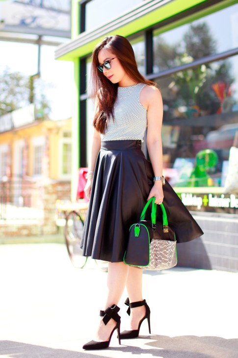An Dyer wearing Dune Top Zara Leather Midi Skirt Hayden Harnett Sandrine Black and Green with Quipid Bow Pumps