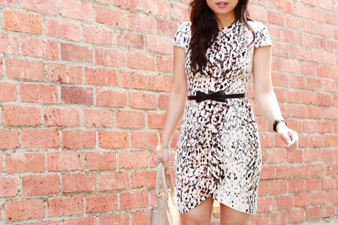 An Dyer wearing Bebe Summer Spring Office Dress with Kate Spade Bow Belt