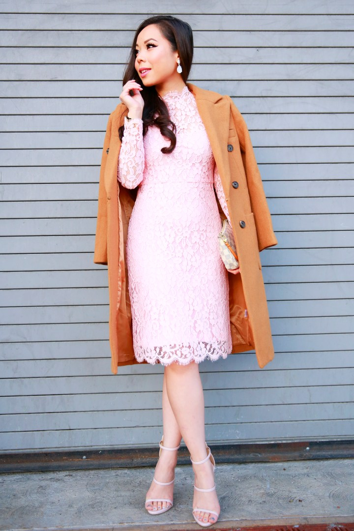 An Dyer wearing Chicwish Camel Coat and Pink Lace Midi Dress with Nude 3 Strap Sandals