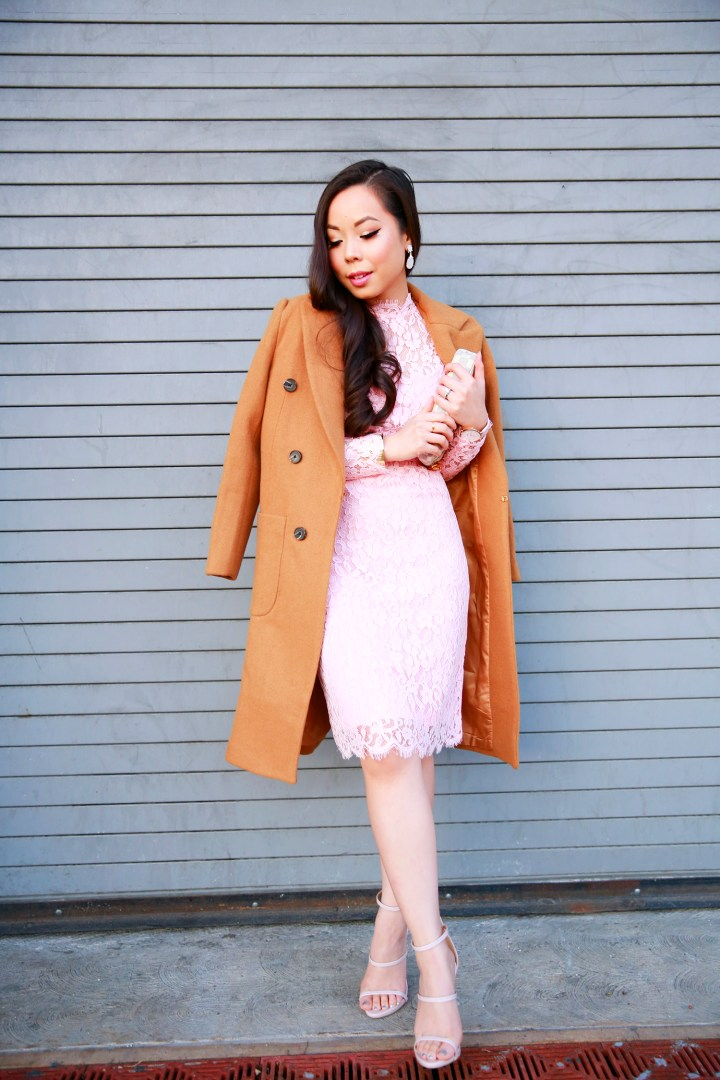 An Dyer wearing Chicwish Camel Coat and Pink Lace Midi Dress with Public Desire Strappy Sandals