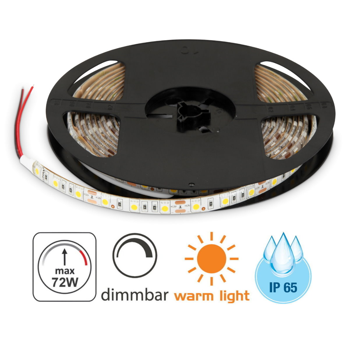 Led 12v Dimmbar Led Stripe 5m 12v Dimmbar Ip65 72w 300x5050 Warmweiß