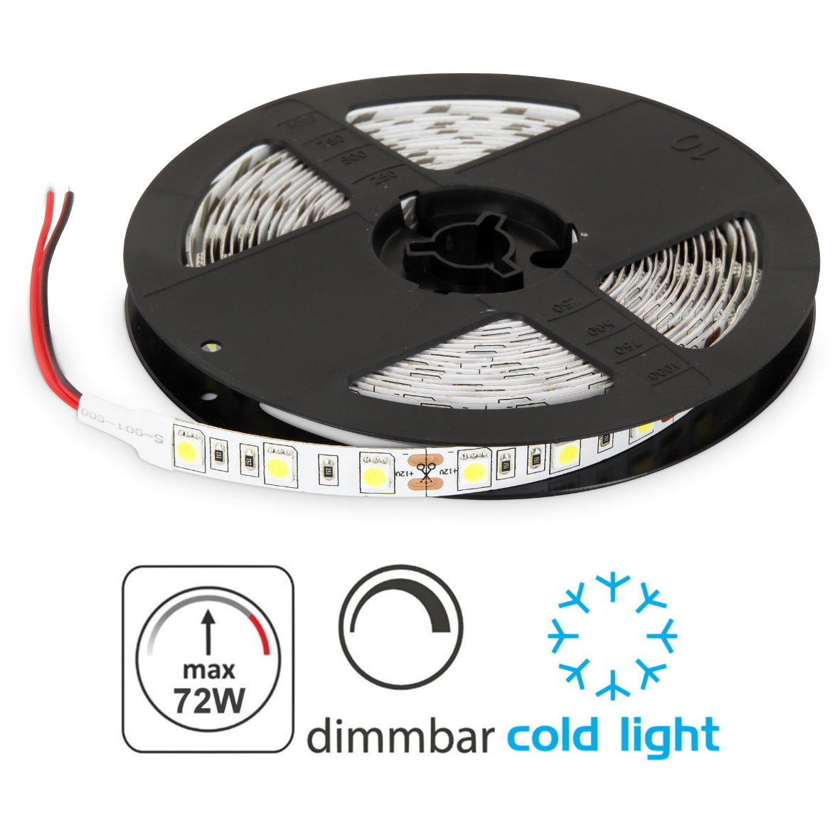 Led 12v Dimmbar Led Stripe 5m 12v Dimmbar 72w 300x5050 Kaltweiß