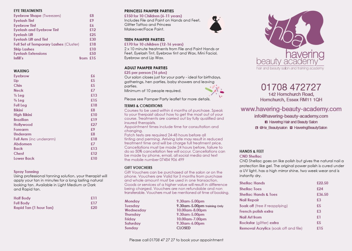 Beauty Salon Prices Price List Havering Beauty Academyhavering Beauty Academy